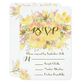 Elegante gelbe Watercolor-Rosen-Hochzeit UAWG 8,9 X 12,7 Cm Einladungskarte