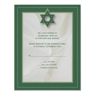 Elegante Gewebe-Bar Mitzvah Antwort-Karte im Grün 10,8 X 14 Cm Einladungskarte