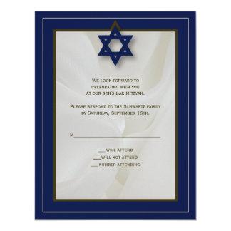 Elegante Gewebe-Bar Mitzvah Antwort-Karte in der 10,8 X 14 Cm Einladungskarte