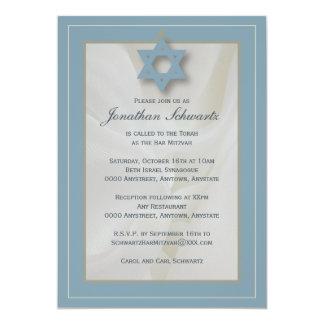 Elegante Gewebe-Bar Mitzvah Einladung im Blau