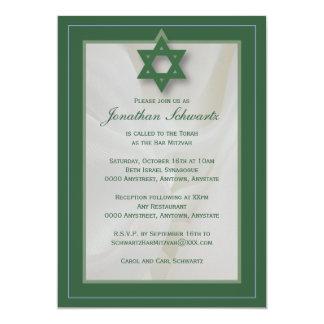 Elegante Gewebe-Bar Mitzvah Einladung im Grün