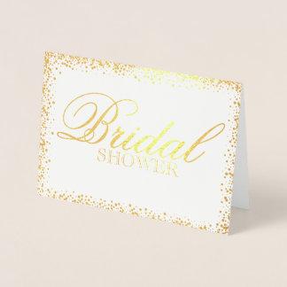 Elegante GoldBrautpartyeinladung Folienkarte