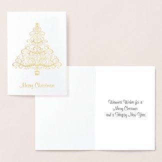 Elegante goldene Weihnachtsbaum-Gruß-Karte Folienkarte
