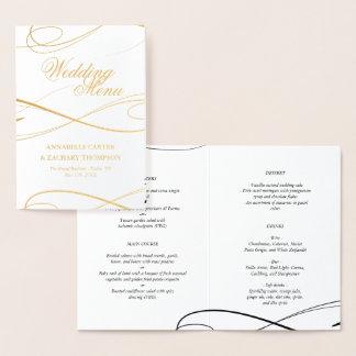 Elegante Goldfolie Swashes Hochzeits-Menü Folienkarte
