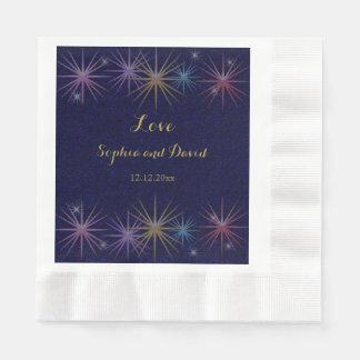Elegante Goldfolien-blaue Glitter-Hochzeit Papierservietten