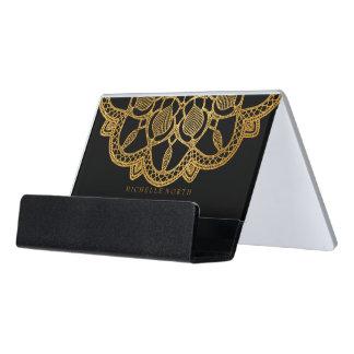 Elegante GoldMandala ID353 Schreibtisch-Visitenkartenhalter