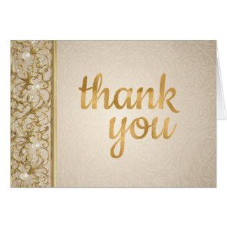Elegante Goldperlen danken Ihnen zu kardieren Karte