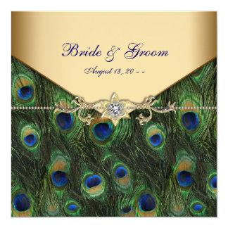 Elegante Goldpfau-Hochzeits-Einladungen Quadratische 13,3 Cm Einladungskarte