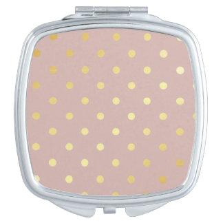 elegante Goldrosa-Tupfen Taschenspiegel