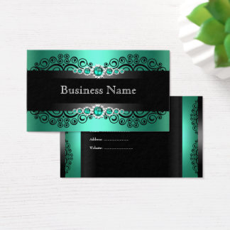 Elegante grüne Jade-Schwarz-Perle Visitenkarte