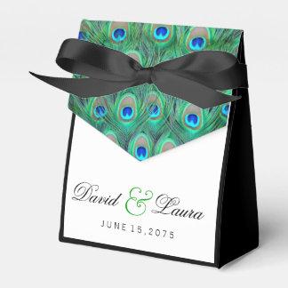 Elegante grüne Pfau-Hochzeit Geschenkkartons