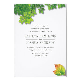Elegante Herbst-Eichen-Hochzeit Karte