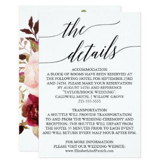 Elegante hintere Hochzeits-mit Blumendetails der 8,9 X 12,7 Cm Einladungskarte