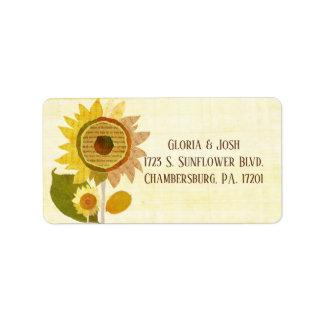 Elegante Hinterhof-Sonnenblumen, die Adresse Adressaufkleber