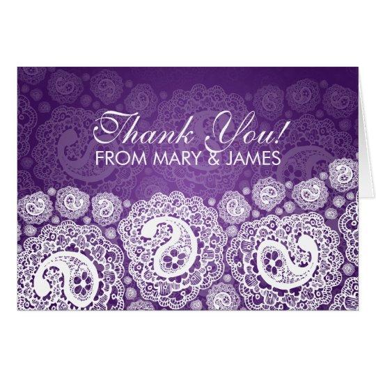 """Elegante Hochzeit """"danken Ihnen"""" lila Karte"""