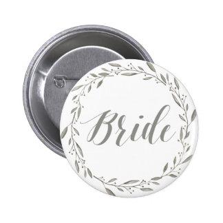 Elegante Hochzeit knöpft graue BlumenKranz-Braut Runder Button 5,1 Cm