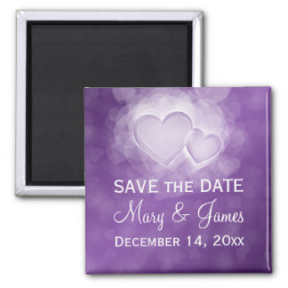 """Elegante Hochzeit """"Save the Date"""" moderne Herzen Quadratischer Magnet"""