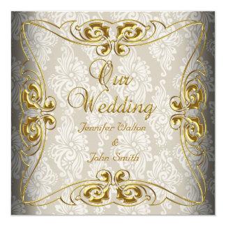 Elegante Hochzeits-beige Golddamast Quadratische 13,3 Cm Einladungskarte
