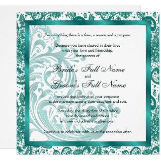 Elegante Hochzeits-Einladung - aquamarin Karte