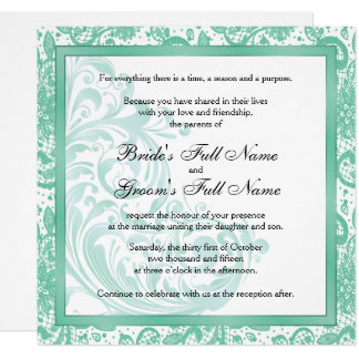 Elegante Hochzeits-Einladung - Aquamarine Karte