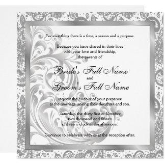 Elegante Hochzeits-Einladung - Silber Karte