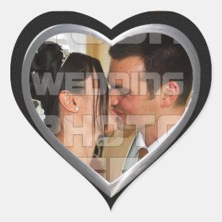 Elegante Hochzeits-Foto-Aufkleber Herz-Aufkleber