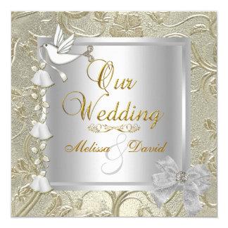 Elegante Hochzeits-Goldsilber-Weiß-Taube Quadratische 13,3 Cm Einladungskarte