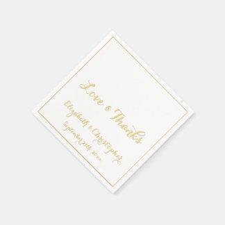 Elegante Hochzeits-Liebe dankt Servietten