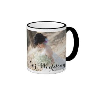 Elegante Hochzeits-Tasse mit Foto Ringer Tasse