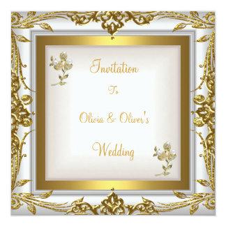 Elegante Hochzeits-verziertes weißes mit Quadratische 13,3 Cm Einladungskarte