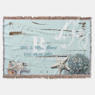 Elegante hölzerne blaue Seashells-Strand-Hochzeit Decke