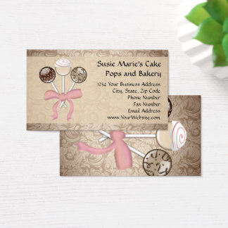 Elegante Kakao-Damast-Kuchen-Pop-Bäckerei Visitenkarte