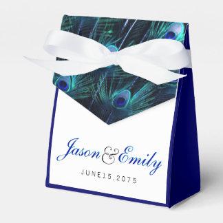 Elegante Königsblau-Pfau-Hochzeit Geschenkschachteln