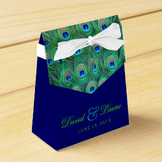 Elegante Königsblau-und Grün-Pfau-Hochzeit Geschenkschachteln