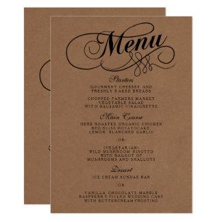 Elegante Kraftpapier-Hochzeits-Menü-Vorlagen Karte