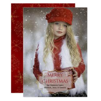 Elegante kundenspezifische WeihnachtsFoto-Karte 12,7 X 17,8 Cm Einladungskarte