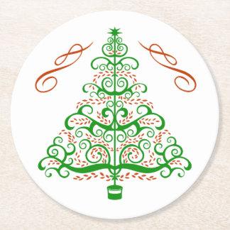 Elegante Kunst Nouveau Weihnachtsbaum Runder Pappuntersetzer