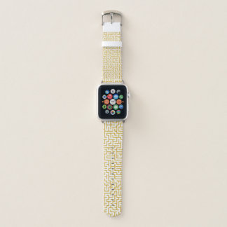 Elegante Labyrinth-moderne Kunst - Gold u. Weiß Apple Watch Armband