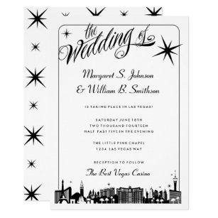 Elegante Las Vegas Streifen Skyline Hochzeit Einladung