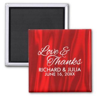 Elegante Liebe und Dank-Rot-Gastgeschenk Hochzeit Quadratischer Magnet