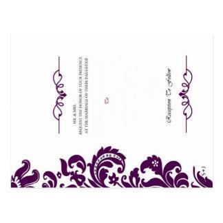 Elegante lila Hochzeit laden und UAWG ein Postkarte