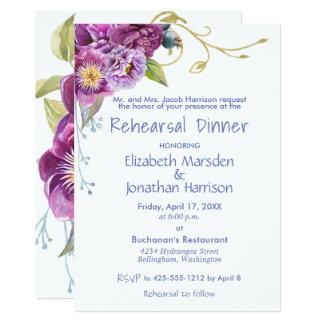 Elegante lila Pfingstrosen-BlumenProben-Abendessen Karte