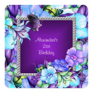 Elegante lila silberne Juwel-Blumen-21. Geburtstag Karte
