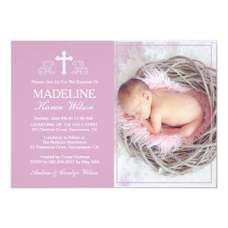 Elegante lila Taufe-Foto-Einladungs-Karte 12,7 X 17,8 Cm Einladungskarte