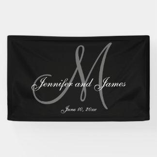 Elegante m-Monogramm-Hochzeits-Fahne Banner