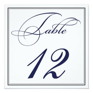 Elegante Marine-Blau-Skript-Tischnummer-Karten Karte