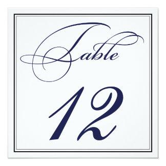 Elegante Marine-Blau-Skript-Tischnummer-Karten Quadratische 13,3 Cm Einladungskarte