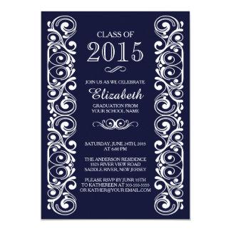 Elegante Marine-weiße Abschluss-Party Einladung
