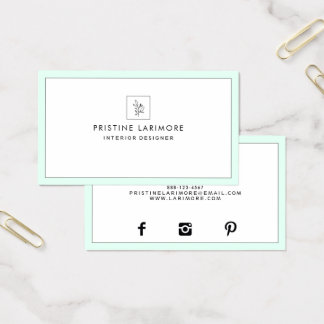 ★ elegante Minze Visitenkarte