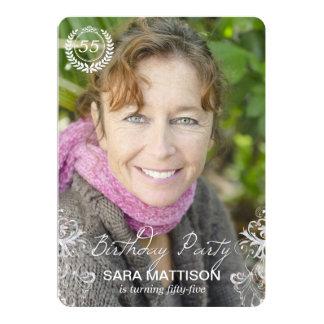 Elegante moderne Farn-Foto-Geburtstags-Einladungen 12,7 X 17,8 Cm Einladungskarte